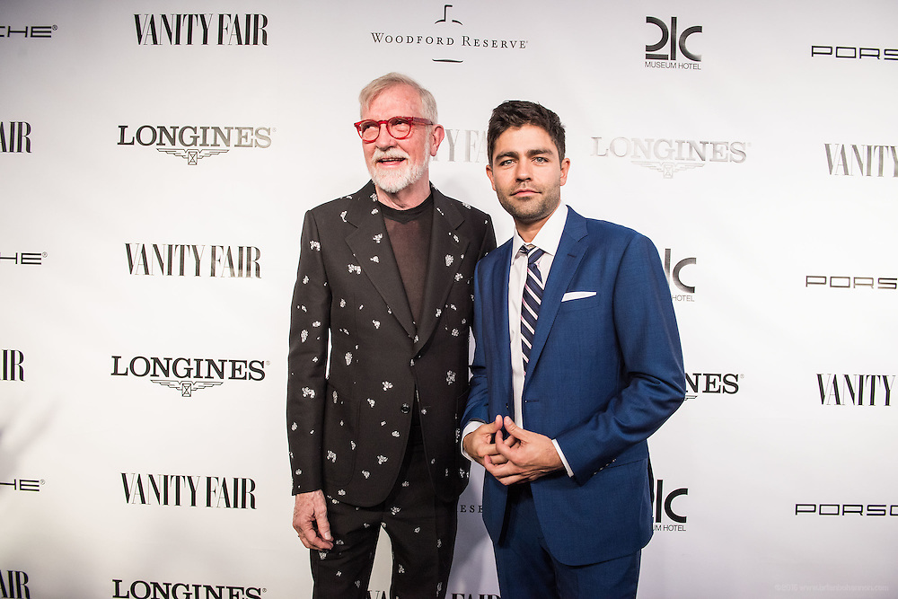 21c owner Steve Wilson and and his guest actor Adrian Grenier are seen on the black carpet at the Vanity Fair Derby party at 21c Museum Hotel. May 6, 2016