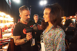 December 8, 2019, Atlanta, Georgia, USA: Miriam Rautert, Miss Germany 2019 gets hair done by a stylist from Farouk Systems, the Makers of CHI & Biosilk backstage during The Miss Universe Competition telecast, held at Tyler Perry Studios. Contestants from around the globe have spent the last few weeks touring, filming, rehearsing and preparing to compete for the Miss Universe crown. (Credit Image: © Benjamin Askinas/Miss Universe Organization via ZUMA Wire)