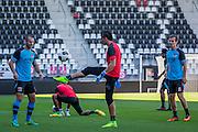 ALKMAAR - 24-08-2016, training AZ, AFAS Stadion, AZ speler Ron Vlaar, AZ keeper Sergio Rochet, AZ speler Stijn Wuytens