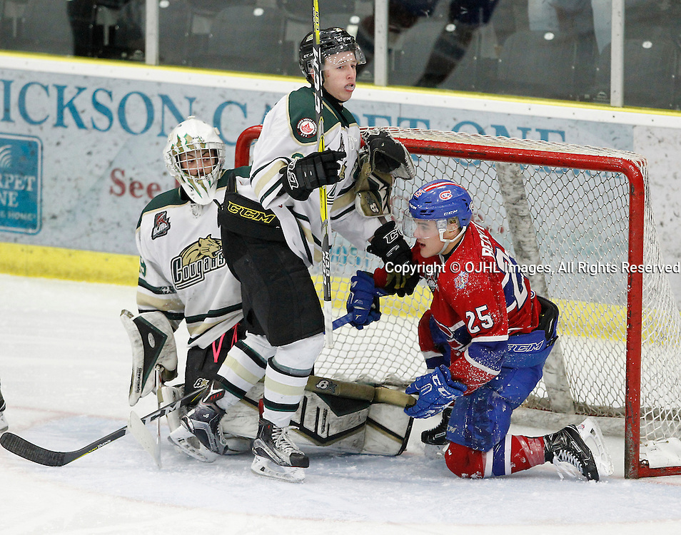 COBOURG, ON  - MAR 4,  2017: Ontario Junior Hockey League, playoff game between the Cobourg Cougars and the Kingston Voyageurs. Cole Beckstead #25 of the Kingston Voyageurs crashes into the net during the third period.<br /> (Photo by Tim Bates / OJHL Images)