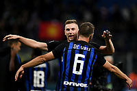 Stefan De Vrij of Internazionale celebrates the victory with Milan Skriniar of Internazionale at the end of the Serie A 2018/2019 football match between Fc Internazionale and AC Milan at Giuseppe Meazza stadium Allianz Stadium, Milano, October, 21, 2018 <br />  Foto Andrea Staccioli / Insidefoto