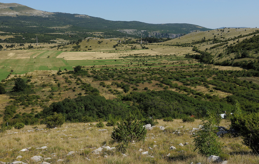 Abandoned farmland, due to globalisation, socio-cultural reasons, the Bosnian war and minefields from it, Velebit Nature Park, Dalmatian coast, Croatia