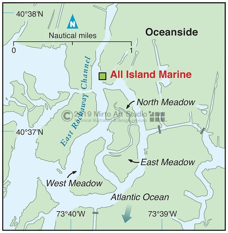 Vector map of Oceanside, New Jersey marina