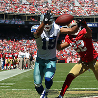 Dallas Cowboys wide receiver Miles Austin (19) and San Francisco 49ers cornerback Carlos Rogers (22)during an NFL football game between the Dallas Cowboys and the San Francisco 49ers at Candlestick Park on Sunday, Sept. 18, 2011 in San Francisco, CA. (Photo/Alex Menendez)