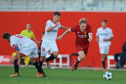 SEVILLE, SPAIN - Tuesday, November 21, 2017: Liverpool's Edvard Sandvik Tagseth during the UEFA Youth League Group E match between Sevilla FC and Liverpool FC at the Ciudad Deportiva Jose Ramon Cisneros. (Pic by David Rawcliffe/Propaganda)