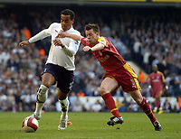 Photo: Olly Greenwood.<br />Tottenham Hotspur v Reading. The Barclays Premiership. 01/04/2007. Spurs Tom Huddlestone and Reading's Nicky SHorey