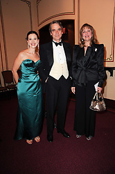 Left to right, OLGA BALAKLEETS, JEREMY IRONS and MARIA SHAMMAS at the World War 2 Commemoration Gala Concert marking the 65th Anniversary of the end of The War in Europe, held at The Royal Albert Hall, London on 10th May 2010.