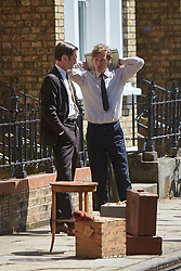 © Licensed to London News Pictures. 19/05/2015. OXFORD, UK. Filming of ITV drama Endeavour, telling the story of the early life of Inspector Morse, taking place in Wellington Square in Oxford.<br /> <br /> In this picture: Shaun Evans (right)(who plays Endeavour Morse) and Jack Laskey (left) (who plays DS Peter Jakes)<br /> <br /> Photo credit : Cliff Hide/LNP