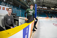 KAMLOOPS, CANADA - NOVEMBER 5: Scott Walford #7 and Connor Dewar #43 of Team WHL sit on the bench prior to the game against the Team Russia  on November 5, 2018 at Sandman Centre in Kamloops, British Columbia, Canada.  (Photo by Marissa Baecker/Shoot the Breeze)