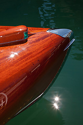 """""""Wooden Boat on Lake Tahoe 2"""" - This abstract photo of a classic wood boat was taken at the 2011 Tahoe Concours d'Elegance."""