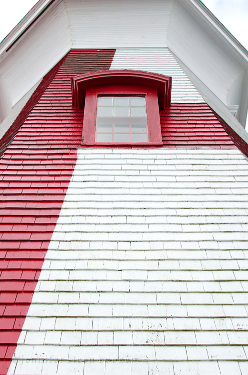 Looking up at a window in the tower of the East Quoddy (Head Harbor) Lighthouse.