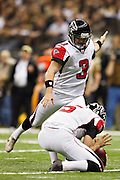 NEW ORLEANS, LA - DECEMBER 26:   Matt Bryant #3 of the Atlanta Falcons kicks a extra point against the New Orleans Saints at Mercedes-Benz Superdome on December 26, 2011 in New Orleans, Louisiana.  The Saints defeated the Falcons 45-16.  (Photo by Wesley Hitt/Getty Images) *** Local Caption *** Matt Bryant