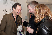 TOM DIXON WITH HIS DOG; BEN WEAVER , Wallpaper Design Awards 2012. 10 Trinity Square<br /> London,  11 January 2011.