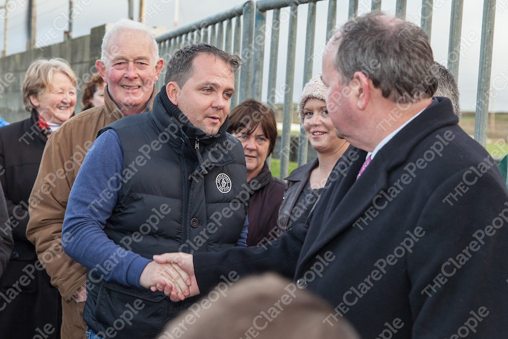 Clare Senior Hurling Manager, David Fitzgerald, greets An tUachtaran Cumann Luthchleas Gael, Mr. Liam O'Neill, during the Kilmurry Ibrickane GAA Club Centenary Closing Ceremony