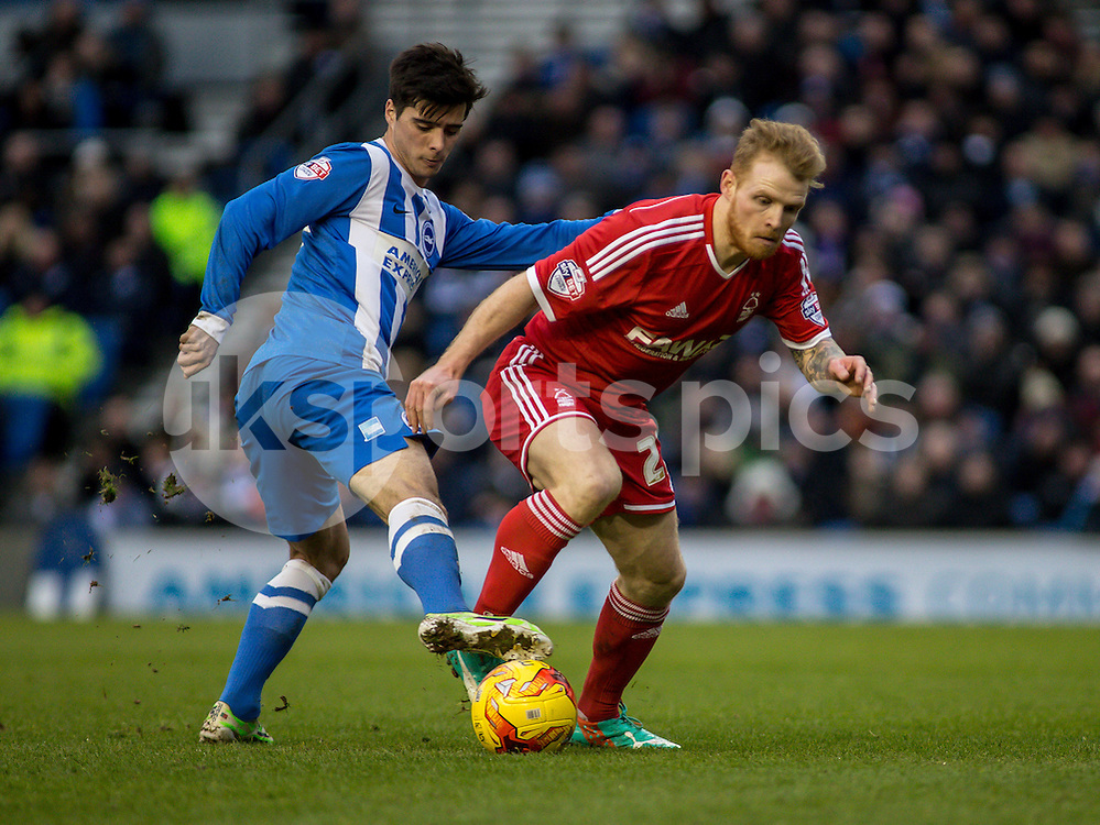 Joao Teixeira of Brighton and Chris Burke of Nottingham Forest during the Sky Bet Championship match between Brighton and Hove Albion and Nottingham Forest at the AMEX Stadium, Brighton, England on 7 February 2015. Photo by Liam McAvoy.