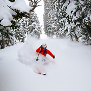 Tigger Knecht skis in the trees in-bounds at Jackson Hole Mountain Resort.