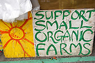 Support Small Organic Farms Sign, Old Monterey Farmers Market, California