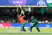 Mohammad Mahmudullah Riyad of Bangladesh hits out and is dropped by Babar Azam of Pakistan during the ICC Cricket World Cup 2019 match between Pakistan and Bangladesh at Lord's Cricket Ground, St John's Wood, United Kingdom on 5 July 2019.