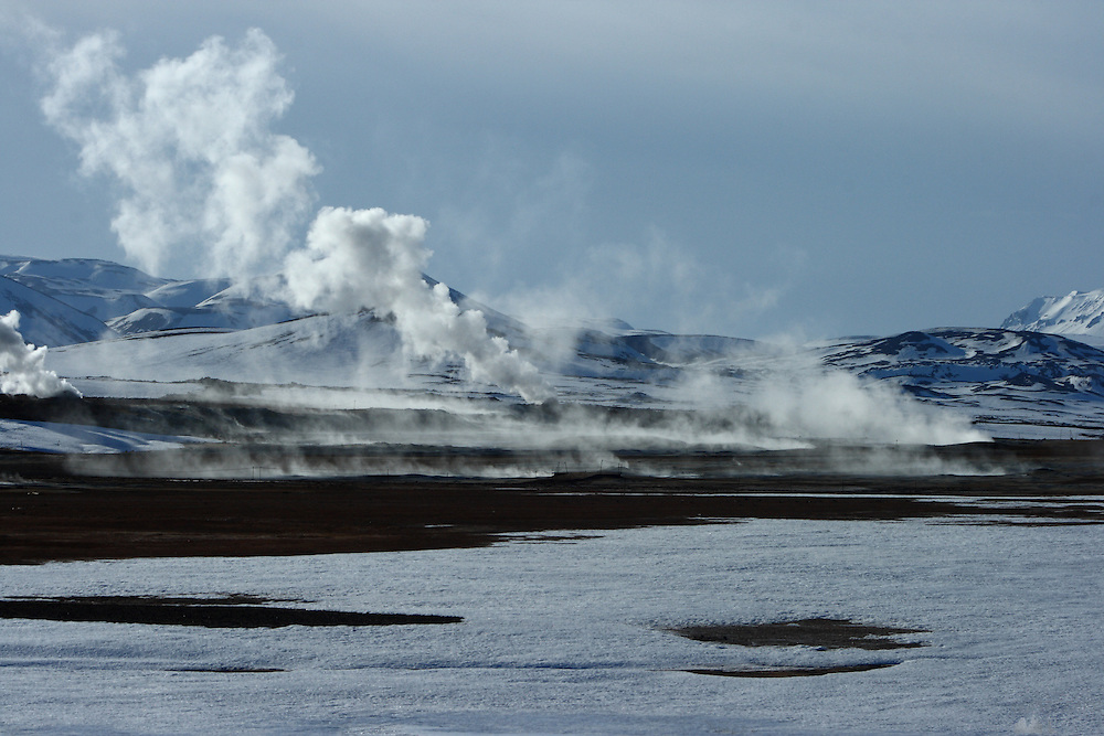 Steam pours out of geothermal areas north of Lake Myvatn in Northern Iceland