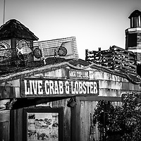 Dory Fishing Fleet Live Crab and Lobster sign black and white picture. The Dory Fishing Fleet is part of the historic landmark Dory Fish Market in Newport Beach California.