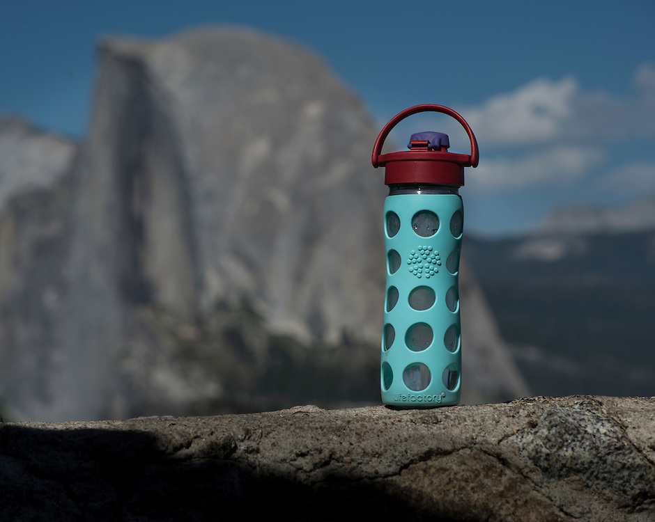 Lifefactory bottle at Glacier Point with Half Dome in the background. Yosemite, June 2013.