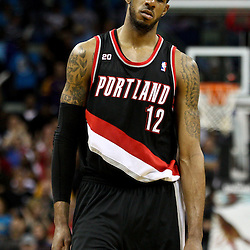 March 30, 2011; New Orleans, LA, USA; Portland Trail Blazers power forward LaMarcus Aldridge (12) against the New Orleans Hornets during the third quarter at the New Orleans Arena. The Hornets defeated the Trail Blazers 95-91.   Mandatory Credit: Derick E. Hingle