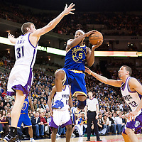 08 April 2008: Golden State Warriors guard Baron Davis goes for the layup during the Golden State Warriors 140-132 victory over the Sacramento Kings at the Oracle  Arena, in Oakland, California, USA.