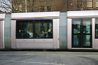 Luas tram in motion, Dublin, Ireland