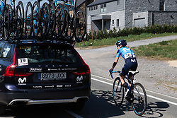 Lorena Llamas (ESP) of Movistar Women's Team visits the team car during the Fleche Wallonne Femme - a 118.5 km road race, starting and finishing in Huy on April 24, 2019, in Liege, Belgium. (Photo by Balint Hamvas/Velofocus.com)