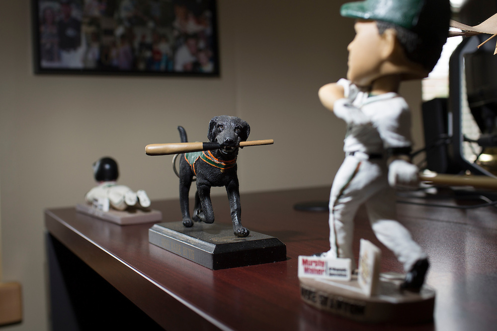 A collectable figurine of Miss Babe Ruth, a Greensboro Grasshoppers bat dog, on the desk of General Manager Donald Moore's desk at NewBridge Bank Park, Greensboro, North Carolina, Monday, June 21, 2014.