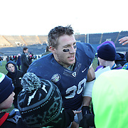 Yale running back Tyler Varga, with fans after the Yale Vs Princeton, Ivy League College Football match at Yale Bowl, New Haven, Connecticut, USA. 15th November 2014. Photo Tim Clayton