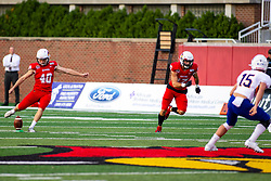 NORMAL, IL - September 07: Aiden Bresnahan kicks off after a touchdown during a college football game between the ISU (Illinois State University) Redbirds and the Morehead State Eagles on September 07 2019 at Hancock Stadium in Normal, IL. (Photo by Alan Look)