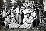 adults only family and friends group moment France 1950s