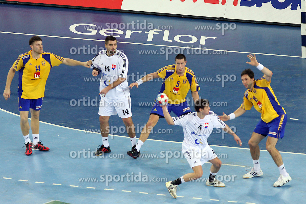 Peter Kukucka (4) of Slovakia during 21st Men's World Handball Championship 2009 Main round Group I match between National teams of Sweden and Slovakia, on January 27, 2009, in Arena Zagreb, Zagreb, Croatia.  (Photo by Vid Ponikvar / Sportida)