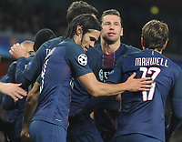 Football - 2016 / 2017 UEFA Champions League - Group A: Arsenal vs. Paris Saint-Germain<br /> <br /> Edinson Cavani of PSG celebrates his first half goal at The Emirates.<br /> <br /> COLORSPORT/ANDREW COWIE