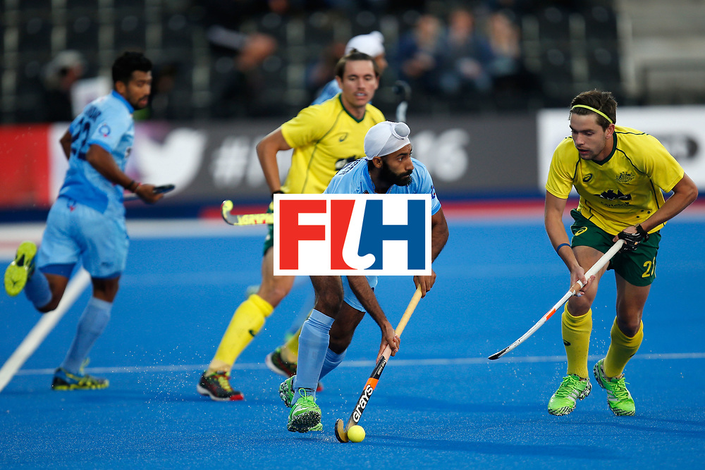 LONDON, ENGLAND - JUNE 17:  Talwinder Singh of India carries the ball during the FIH Men's Hero Hockey Champions Trophy 2016 final  between Australia and India at Queen Elizabeth Olympic Park on June 17, 2016 in London, England.  (Photo by Joel Ford/Getty Images)