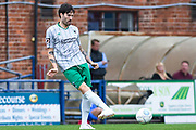 Connor Oliver of Blyth Spartans (8) in action during the Vanarama National League match between York City and Blyth Spartans at Bootham Crescent, York, England on 27 August 2018.