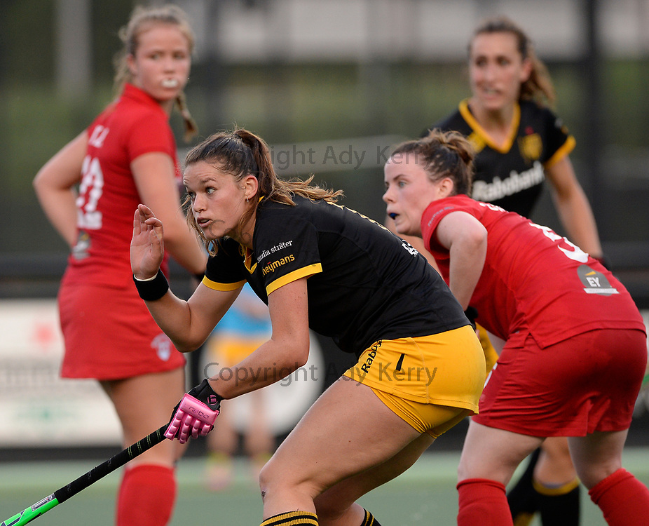 Den Bosch's Lidewij Welten ducks out of the way of the ball during their opening game of the EHCC 2017 at Den Bosch HC, The Netherlands, 2nd June 2017