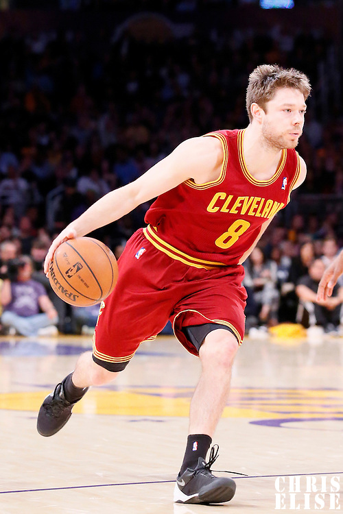 14 January 2014: Cleveland Cavaliers shooting guard Matthew Dellavedova (8) dribbles during the Cleveland Cavaliers 120-118 victory over the Los Angeles Lakers at the Staples Center, Los Angeles, California, USA.