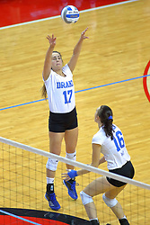 23 November 2017:  Paige Aspinwall passes and sets for Gillian Gergen during a college women's volleyball match between the Drake Bulldogs and the Indiana State Sycamores in the Missouri Valley Conference Tournament at Redbird Arena in Normal IL (Photo by Alan Look)
