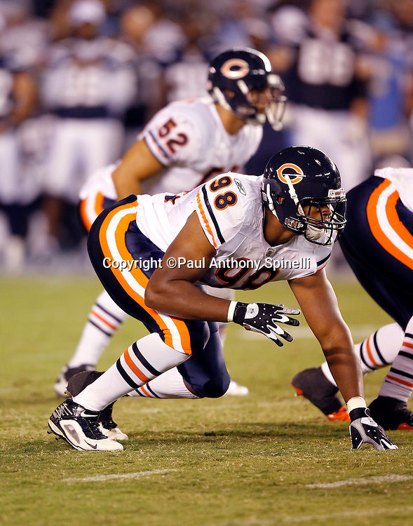Chicago Bears rookie defensive end Corey Wootten (98) gets set for the snap during pregame warmups during a NFL week 1 preseason football game against the San Diego Chargers, Saturday, August 14, 2010 in San Diego, California. The Chargers won the game 25-10. (©Paul Anthony Spinelli)