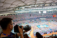 Poland, Warsaw - 2017 August 24: Photographer Rafal Oleksiewicz (Pressfocus Agency) shoots pictures while match Poland versus Serbia during LOTTO EUROVOLLEY POLAND 2017 - European Championships in volleyball at Stadion PGE Narodowy on August 24, 2017 in Warsaw, Poland.<br /> <br /> Mandatory credit:<br /> Photo by © Adam Nurkiewicz<br /> <br /> Adam Nurkiewicz declares that he has no rights to the image of people at the photographs of his authorship.<br /> <br /> Picture also available in RAW (NEF) or TIFF format on special request.<br /> <br /> Any editorial, commercial or promotional use requires written permission from the author of image.