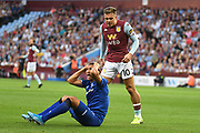 Aston Villa midfielder Jack Grealish (10) shouts at Everton forward Richardson (7) as he claims for a penalty during the Premier League match between Aston Villa and Everton at Villa Park, Birmingham, England on 23 August 2019.