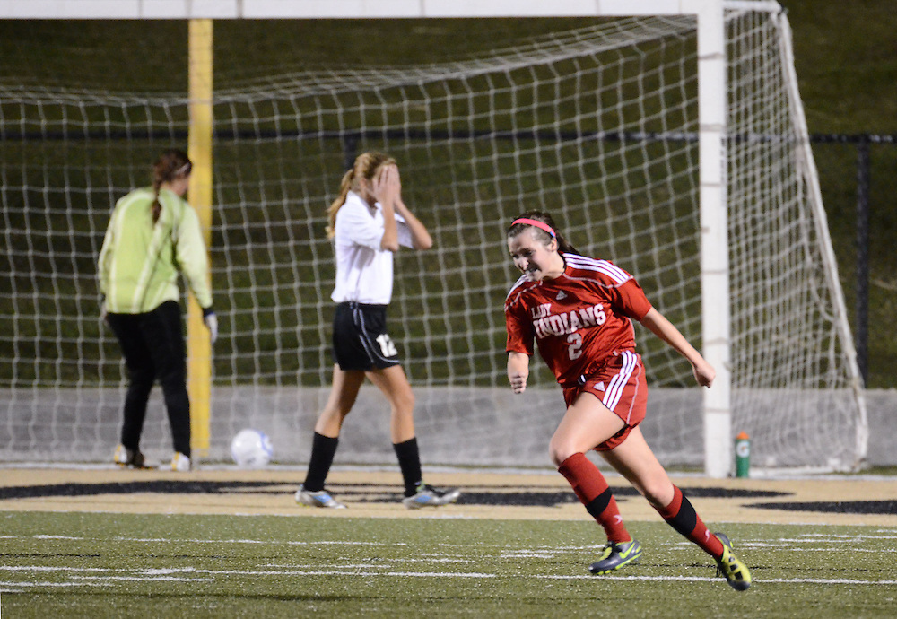 Biloxi's Chelsea Parsons (2) celebrates a goal on Tuesday night during their playoff game against Oak Grove High School at Warrior Stadium. Biloxi pulled off a 3-2 victory in double-overtime. Bryant Hawkins/The Hattiesburg American