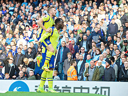 MANCHESTER, ENGLAND - Saturday, October 15, 2016: Everton's Romelu Lukaku celebrates scoring the first goal against Manchester City during the FA Premier League match at the City of Manchester Stadium. (Pic by Gavin Trafford/Propaganda)