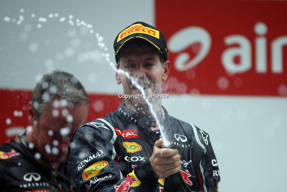 &copy; Photo4 / LaPresse<br /> 28/10/2012 Noida, India<br /> Sport <br /> Indian Grand Prix, Noida 25-28 October 2012<br /> In the pic: Race winner Sebastian Vettel (GER), Red Bull Racing, RB8