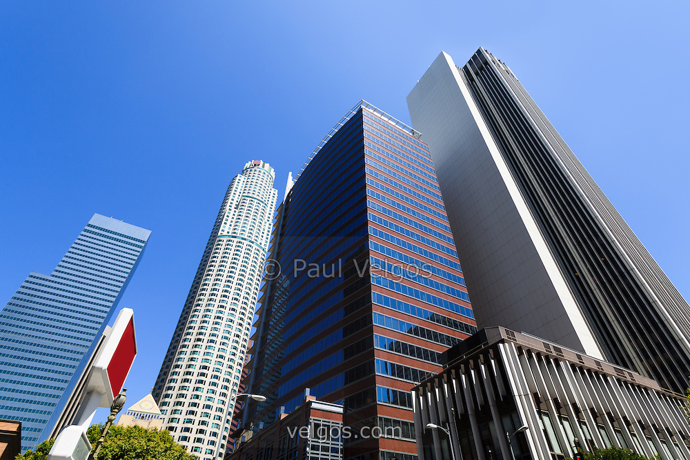 Photo of Los Angeles cityscape of downtown office buildings in Southern California in the United States.