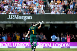 Chris Read of Nottinghamshire raises his bat to celebrate reaching 50 in the Royal London One Day Cup Final, his last before retiring - Mandatory by-line: Robbie Stephenson/JMP - 01/07/2017 - CRICKET - Lord's Cricket Ground - London, United Kingdom - Nottinghamshire v Surrey - Royal London One-Day Cup Final 2017