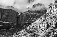 Storm Shrouded Peaks In Winter At Zion National Park, Utah, USA