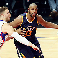15 April 2017: Utah Jazz center Boris Diaw (33) posts up LA Clippers forward Blake Griffin (32) during the Utah Jazz 97-95 victory over the Los Angeles Clippers, during game 1 of the first round of the Western Conference playoffs, at the Staples Center, Los Angeles, California, USA.
